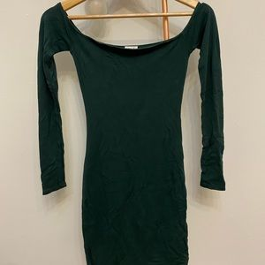 Green bodycon off the shoulder dress